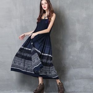 Dark blue women's long style wide strap dress